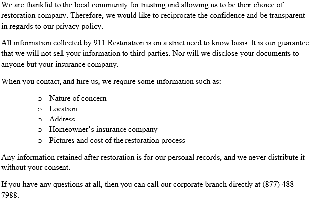 911 Restoration Central New York's Privacy Policy