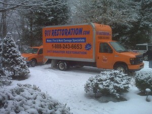 911 Restoration Central New York | Restoration Truck Parked Outside Job During Winter
